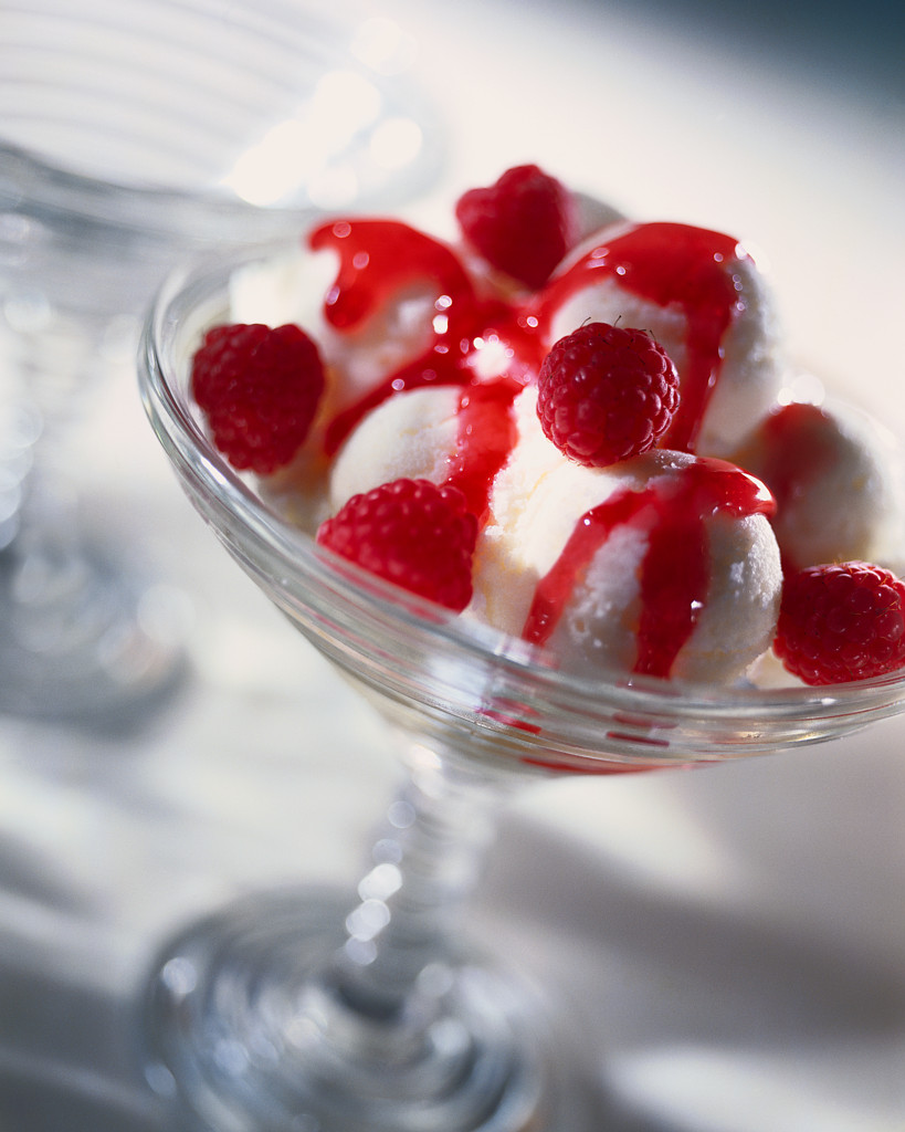 Raspberries on Ice Cream