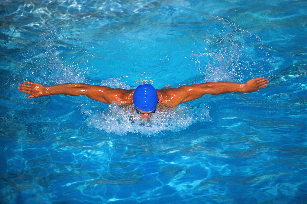 Swimmer Doing Butterfly Stroke